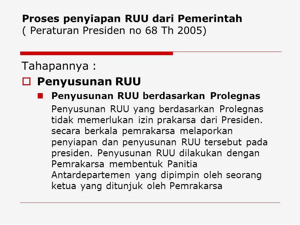Proses penyiapan RUU dari Pemerintah ( Peraturan Presiden no 68 Th 2005) Tahapannya :  Penyusunan RUU Penyusunan RUU berdasarkan Prolegnas Penyusunan