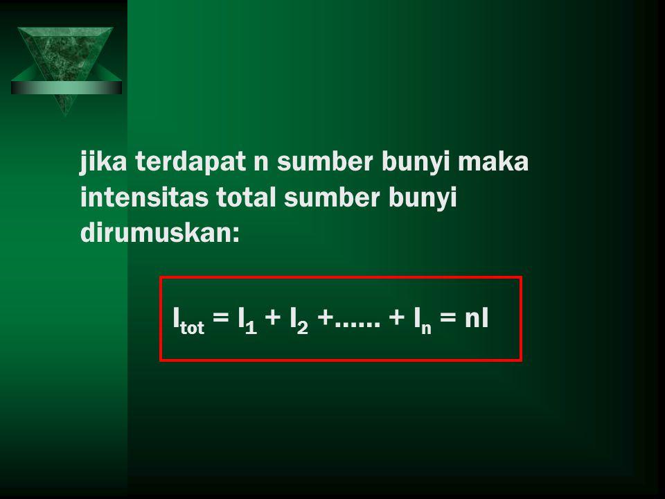 jika terdapat n sumber bunyi maka intensitas total sumber bunyi dirumuskan: I tot = I 1 + I 2 +…… + I n = nI