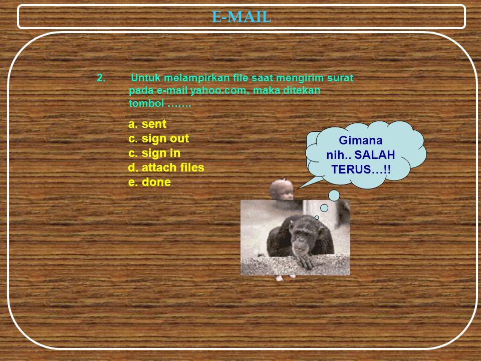 E-MAIL a. sent c. sign out c. sign in e. done 2. Untuk melampirkan file saat mengirim surat pada e-mail yahoo.com, maka ditekan tombol ……. Hebat..anda