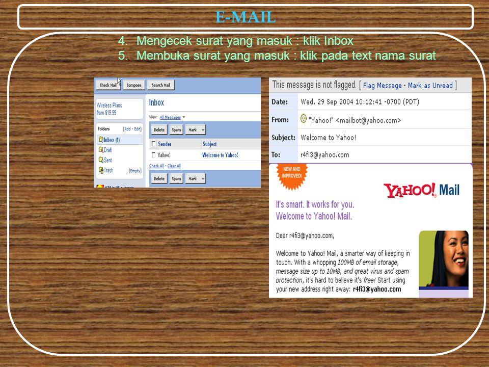 E-MAIL 4.Mengecek surat yang masuk : klik Inbox 5.Membuka surat yang masuk : klik pada text nama surat