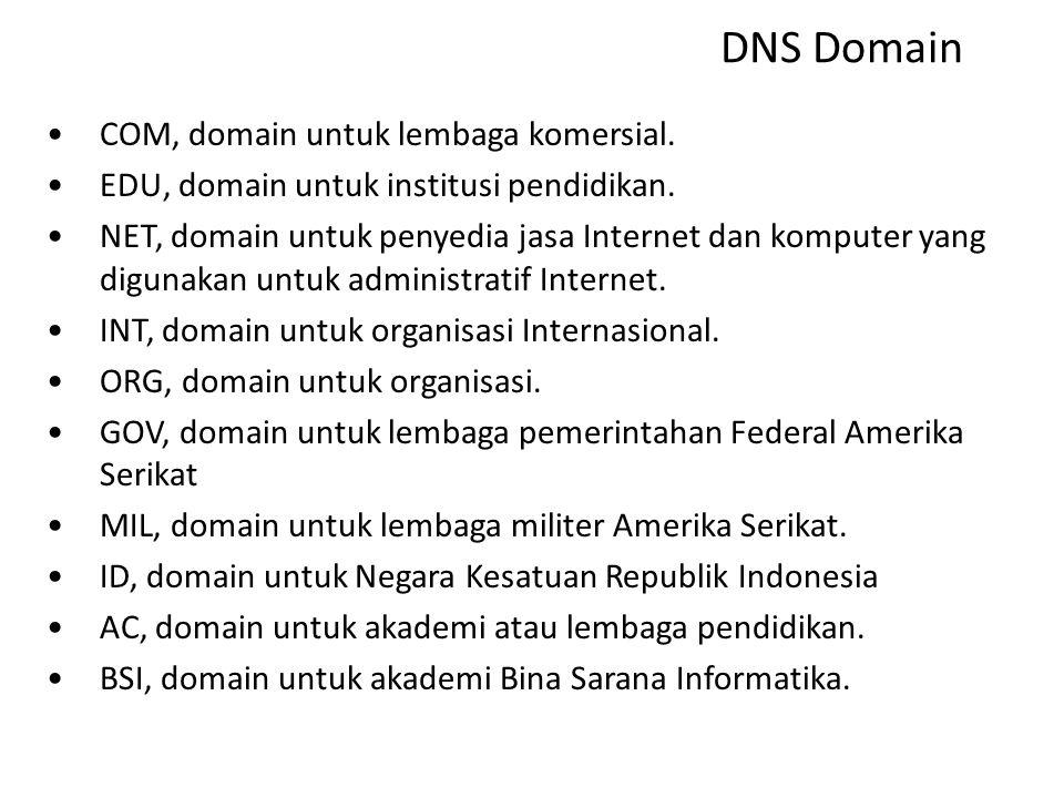 "DNS Tree "" "" COMEDUNETORGINTGOVMILID AC BSI Domain Internasional Domain Amerika Serikat Domain Negara root"