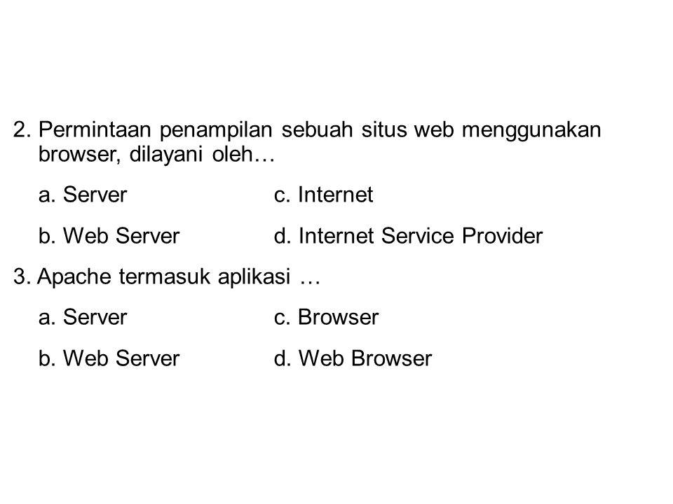 1. Komputer yang meminta layanan disebut … a. Serverc. Host b. Clientd. Browser 2.Permintaan penampilan sebuah situs web menggunakan browser, dilayani