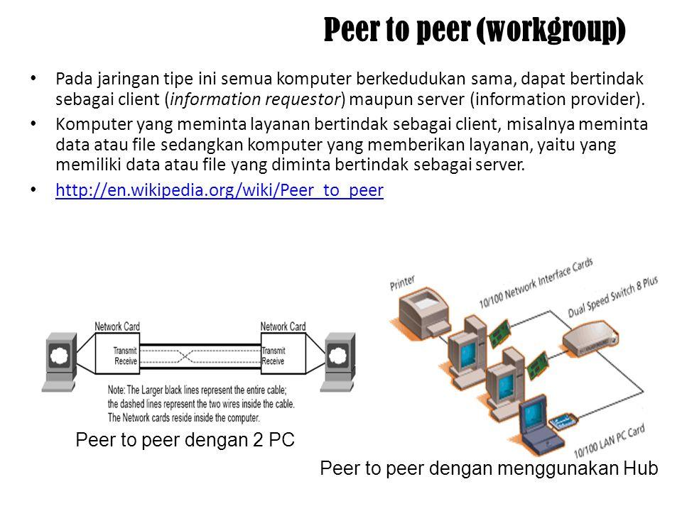 Arsitektur Jaringan Terdapat dua arsitektur dalam jaringan yang menjelaskan bagaimana sebuah jaringan dibangun, yaitu : 1.Peer to peer (workgroup) 2.C