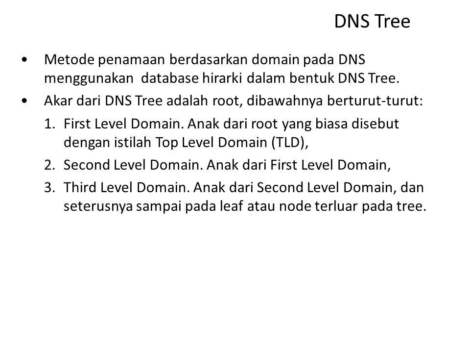 Metode Penamaan Metode penamaan host pada jaringan ada dua, yaitu penamaan statis, misalnya menggunakan file HOST.TXT dan penamaan berdasarkan domain menggunakan DNS.