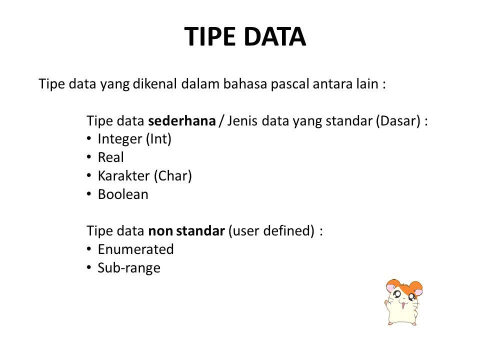 TIPE DATA Tipe data yang dikenal dalam bahasa pascal antara lain : Tipe data sederhana / Jenis data yang standar (Dasar) : Integer (Int) Real Karakter