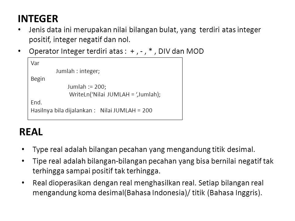 INTEGER Jenis data ini merupakan nilai bilangan bulat, yang terdiri atas integer positif, integer negatif dan nol. Operator Integer terdiri atas : +,