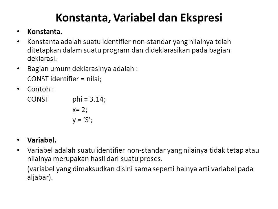 Konstanta, Variabel dan Ekspresi Konstanta. Konstanta adalah suatu identifier non-standar yang nilainya telah ditetapkan dalam suatu program dan didek