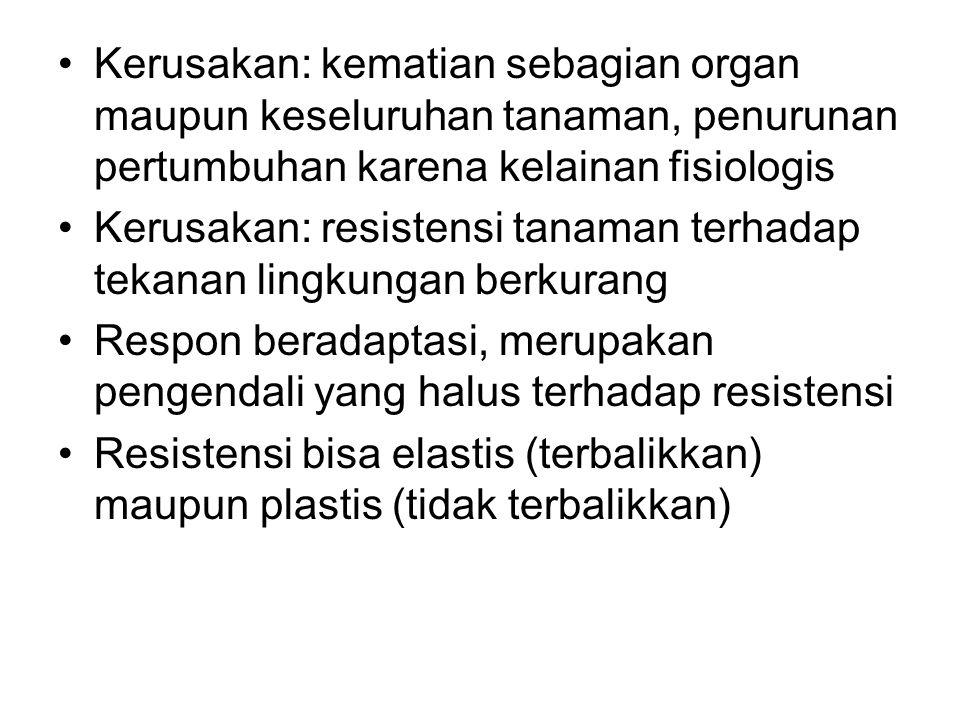 Kerusakan: kematian sebagian organ maupun keseluruhan tanaman, penurunan pertumbuhan karena kelainan fisiologis Kerusakan: resistensi tanaman terhadap