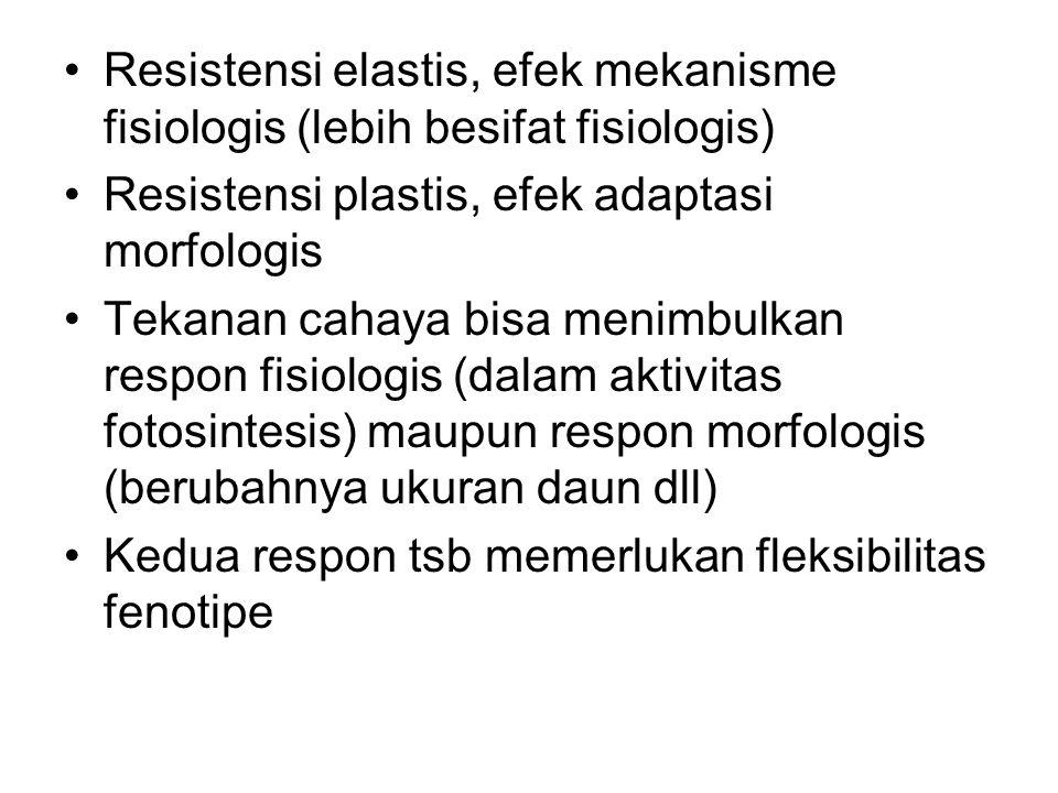 Resistensi elastis, efek mekanisme fisiologis (lebih besifat fisiologis) Resistensi plastis, efek adaptasi morfologis Tekanan cahaya bisa menimbulkan