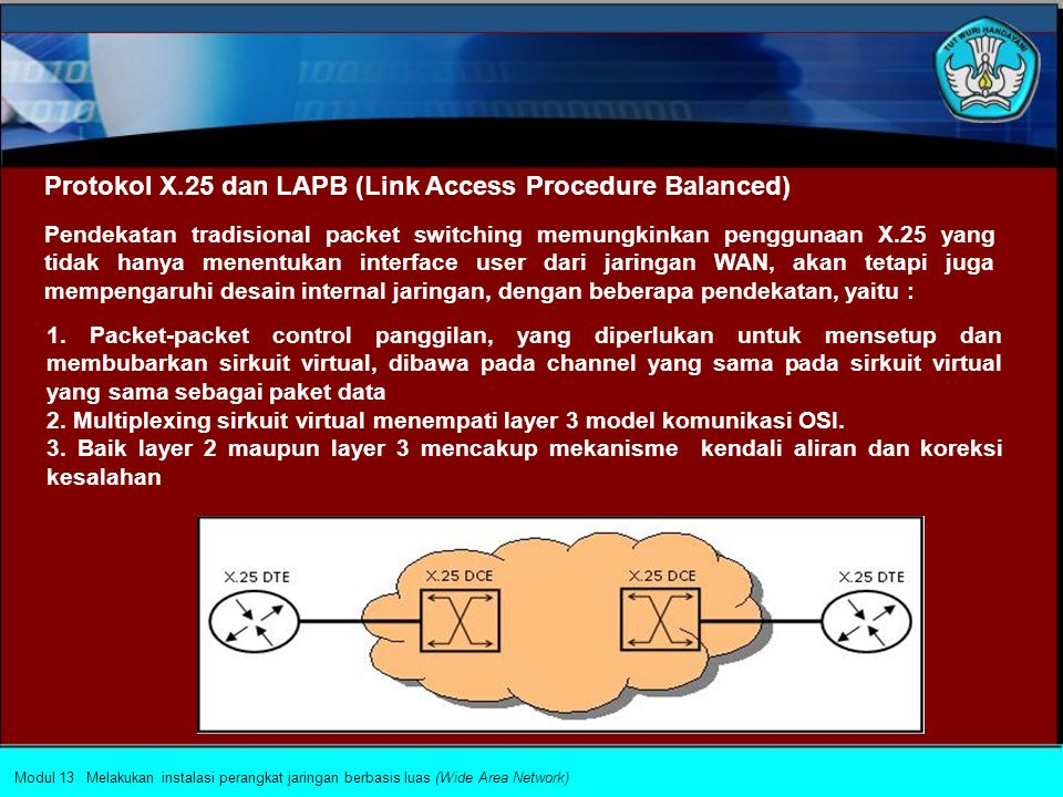 HDLC merupakan sebuah protokol yang bekerja pada lapisan datalink.