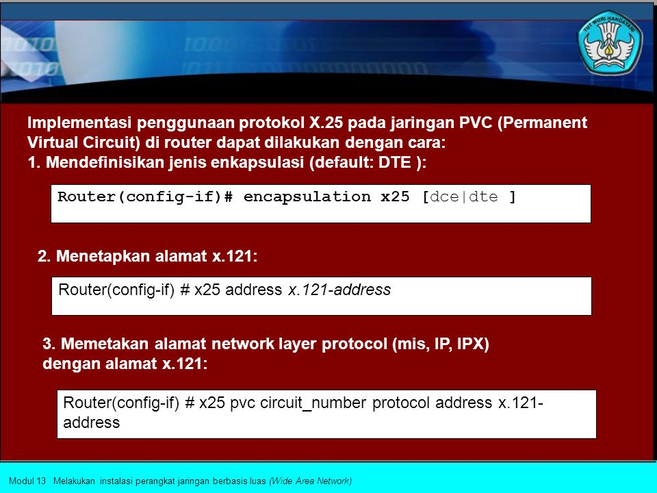 Implementasi penggunaan protokol X.25 pada jaringan SVC Switched Virtual Circuit) di router dapat dilakukan dengan cara: 1. Mendefinisikan jenis enkap