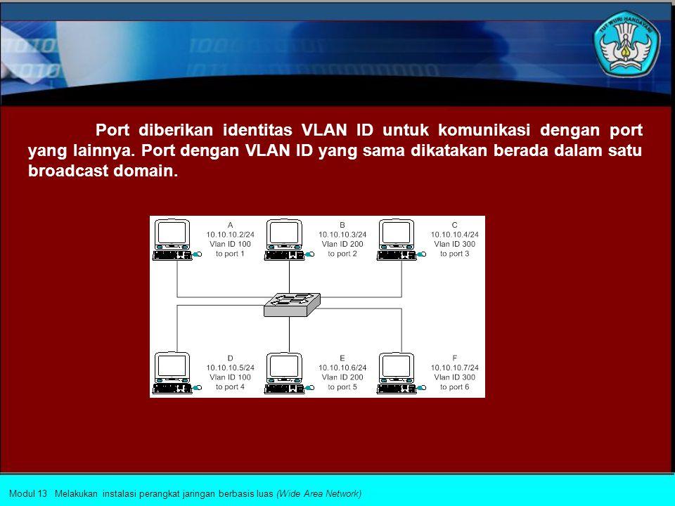 Virtual LAN (VLAN) Virtual LAN (VLAN) adalah sebuah konsep logika yang membagi satu broadcast domain (network) menjadi beberapa broadcast domain (kelompok logika).