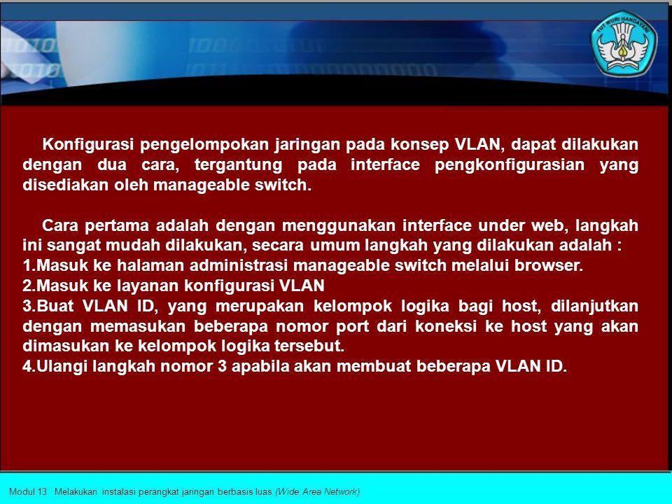 Port diberikan identitas VLAN ID untuk komunikasi dengan port yang lainnya. Port dengan VLAN ID yang sama dikatakan berada dalam satu broadcast domain
