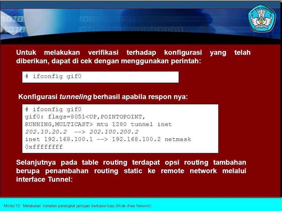Router 1: # ifconfig gif0 create # ifconfig gif0 tunnel 202.10.20.2 202.100.200.2 # ifconfig gif0 inet 192.168.100.1 192.168.100.2 netmask 0xffffffff # ifconfig gif0 create # ifconfig gif0 tunnel 202.100.200.2 202.10.20.2 # ifconfig gif0 inet 192.168.100.2 192.168.100.1 netmask 0xffffffff Router 2: Mengkonfigurasi alamat tunneling pada device GIF, dengan membuat virtual link.