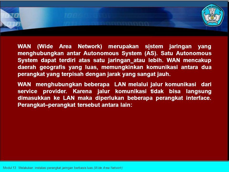 WAN (Wide Area Network) merupakan sistem jaringan yang menghubungkan antar Autonomous System (AS).