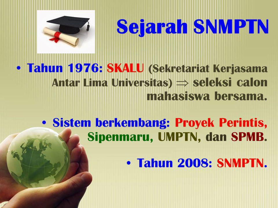 Sejarah SNMPTN Tahun 1976: SKALU (Sekretariat Kerjasama Antar Lima Universitas)  seleksi calon mahasiswa bersama. Sistem berkembang: Proyek Perintis,