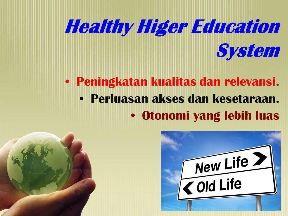 Healthy Higer Education System Peningkatan kualitas dan relevansi. Perluasan akses dan kesetaraan. Otonomi yang lebih luas