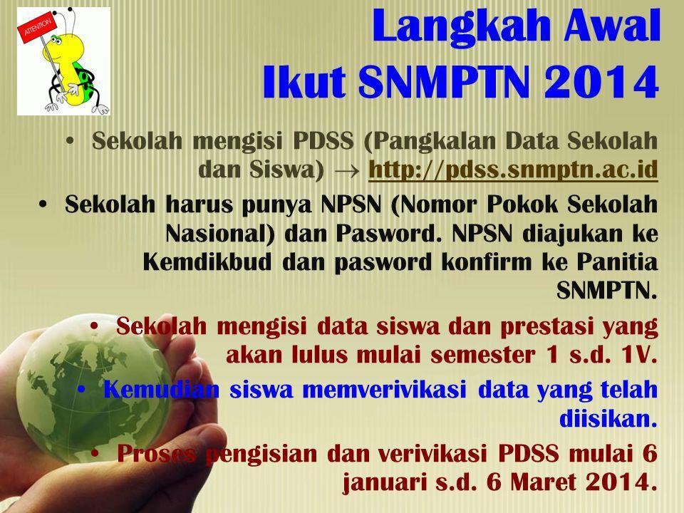 Langkah Awal Ikut SNMPTN 2014 Sekolah mengisi PDSS (Pangkalan Data Sekolah dan Siswa)  http://pdss.snmptn.ac.idhttp://pdss.snmptn.ac.id Sekolah harus