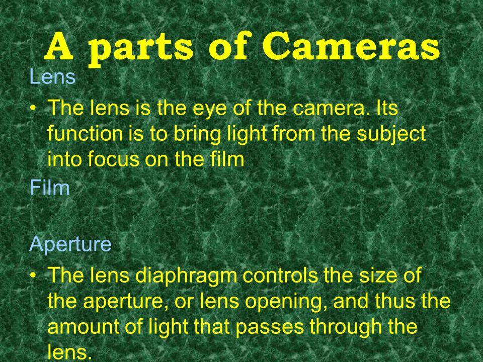 Bagan kamera Film Gerak lensa x x x Lensa diafragma Apertur