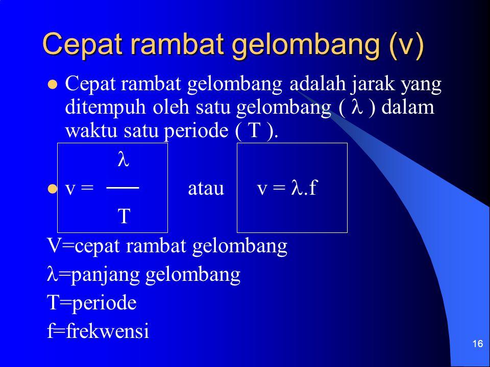 16 Cepat rambat gelombang (v) Cepat rambat gelombang adalah jarak yang ditempuh oleh satu gelombang ( ) dalam waktu satu periode ( T ). v = atau v =.f