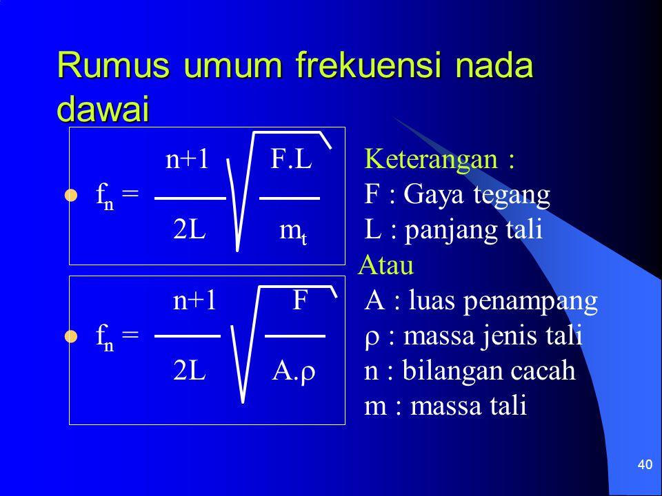 40 Rumus umum frekuensi nada dawai n+1 F.L Keterangan : f n = F : Gaya tegang 2L m t L : panjang tali Atau n+1 F A : luas penampang f n =  : massa je