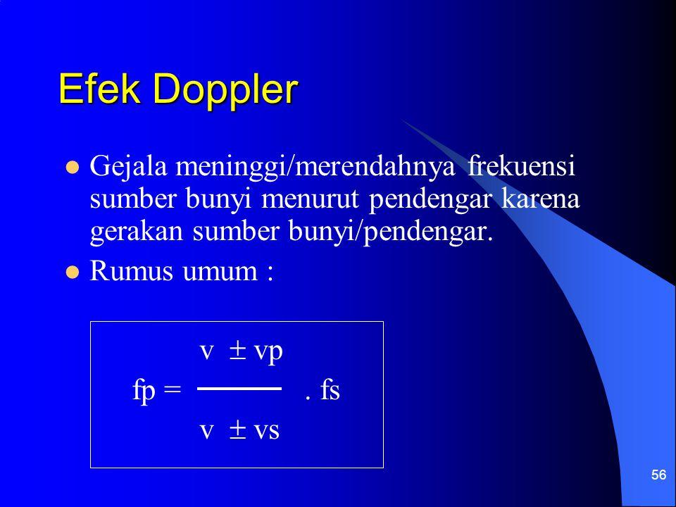 56 Efek Doppler Gejala meninggi/merendahnya frekuensi sumber bunyi menurut pendengar karena gerakan sumber bunyi/pendengar. Rumus umum : v  vp fp =.