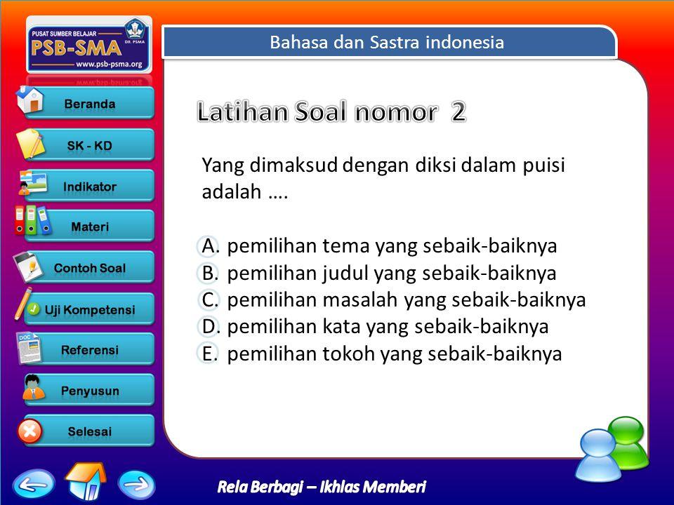 Bahasa dan Sastra indonesia Rela Berbagi – Ikhlas Memberi Yang dimaksud dengan diksi dalam puisi adalah ….