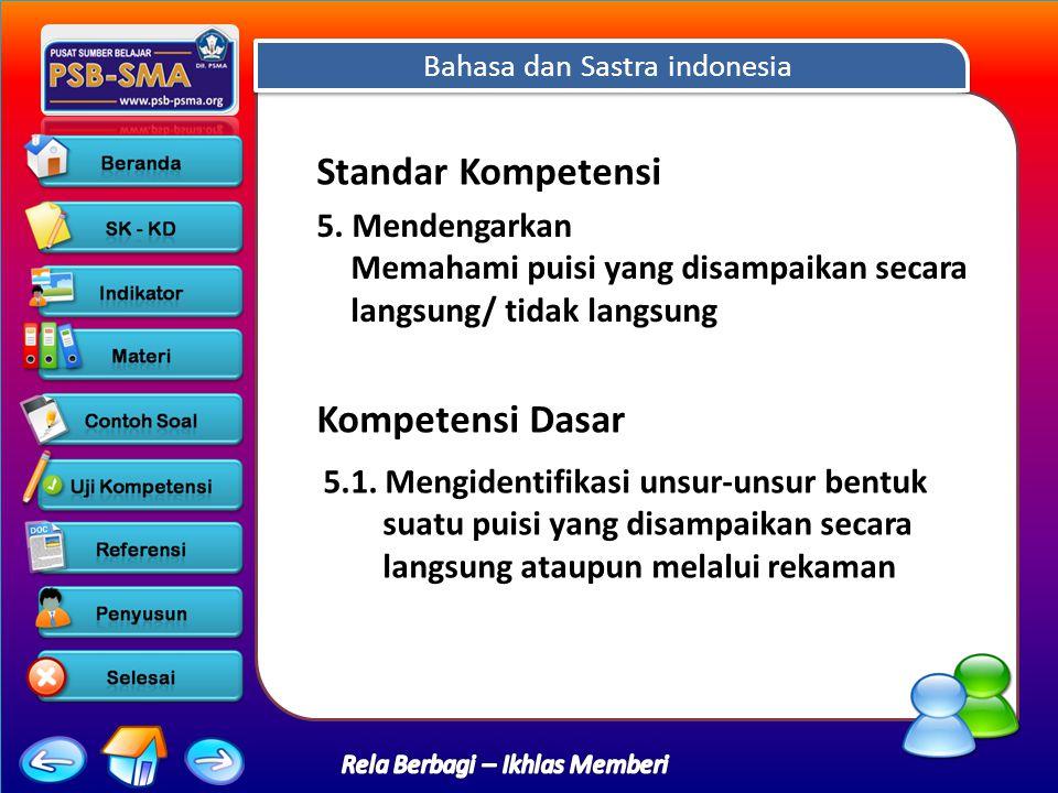 Bahasa dan Sastra indonesia Rela Berbagi – Ikhlas Memberi Standar Kompetensi 5.
