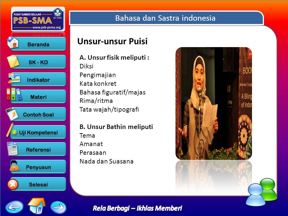 Bahasa dan Sastra indonesia Rela Berbagi – Ikhlas Memberi Unsur-unsur Puisi A.