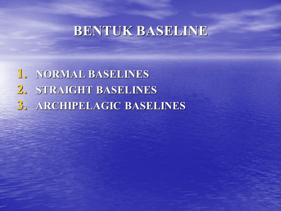 BENTUK BASELINE 1. NORMAL BASELINES 2. STRAIGHT BASELINES 3. ARCHIPELAGIC BASELINES