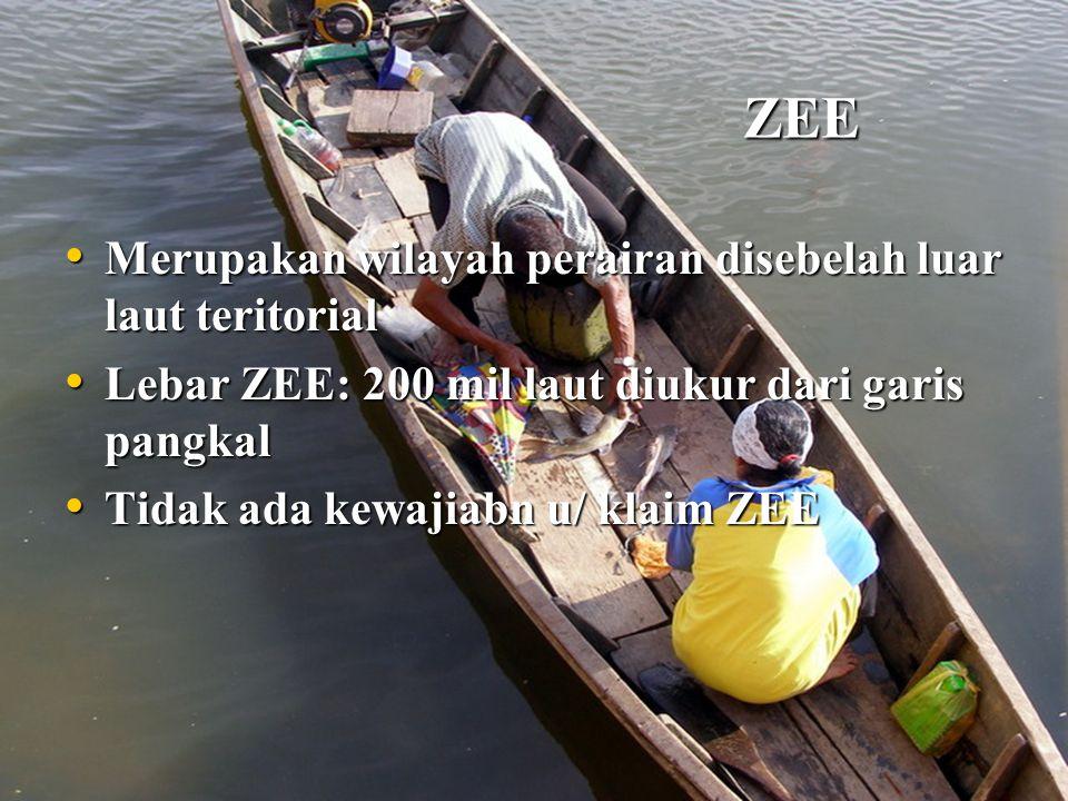 ZEE Merupakan wilayah perairan disebelah luar laut teritorial Merupakan wilayah perairan disebelah luar laut teritorial Lebar ZEE: 200 mil laut diukur