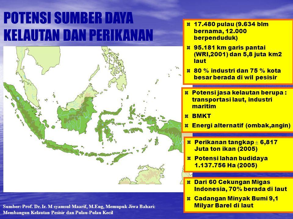 17.480 pulau (9.634 blm bernama, 12.000 berpenduduk) 95.181 km garis pantai (WRI,2001) dan 5,8 juta km2 laut 80 % industri dan 75 % kota besar berada