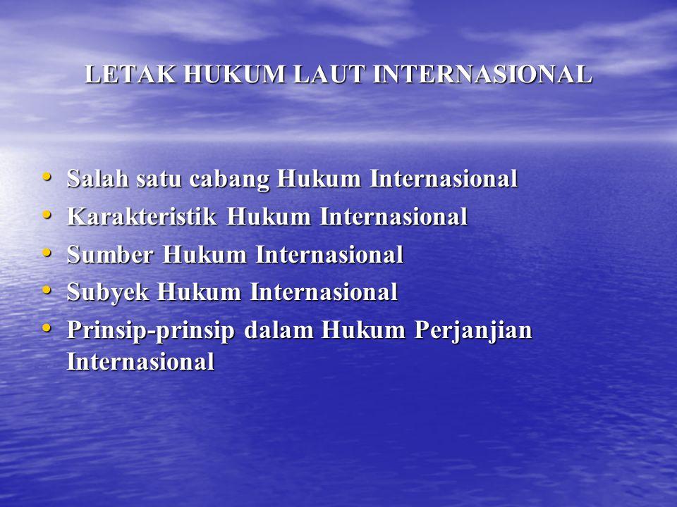 LETAK HUKUM LAUT INTERNASIONAL Salah satu cabang Hukum Internasional Salah satu cabang Hukum Internasional Karakteristik Hukum Internasional Karakteri
