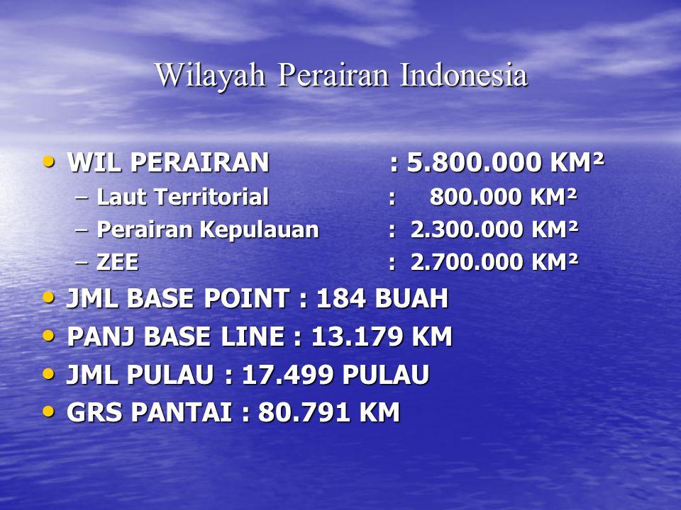 Wilayah Perairan Indonesia WIL PERAIRAN : 5.800.000 KM² WIL PERAIRAN : 5.800.000 KM² –Laut Territorial : 800.000 KM² –Perairan Kepulauan : 2.300.000 KM² –ZEE : 2.700.000 KM² JML BASE POINT : 184 BUAH JML BASE POINT : 184 BUAH PANJ BASE LINE : 13.179 KM PANJ BASE LINE : 13.179 KM JML PULAU : 17.499 PULAU JML PULAU : 17.499 PULAU GRS PANTAI : 80.791 KM GRS PANTAI : 80.791 KM