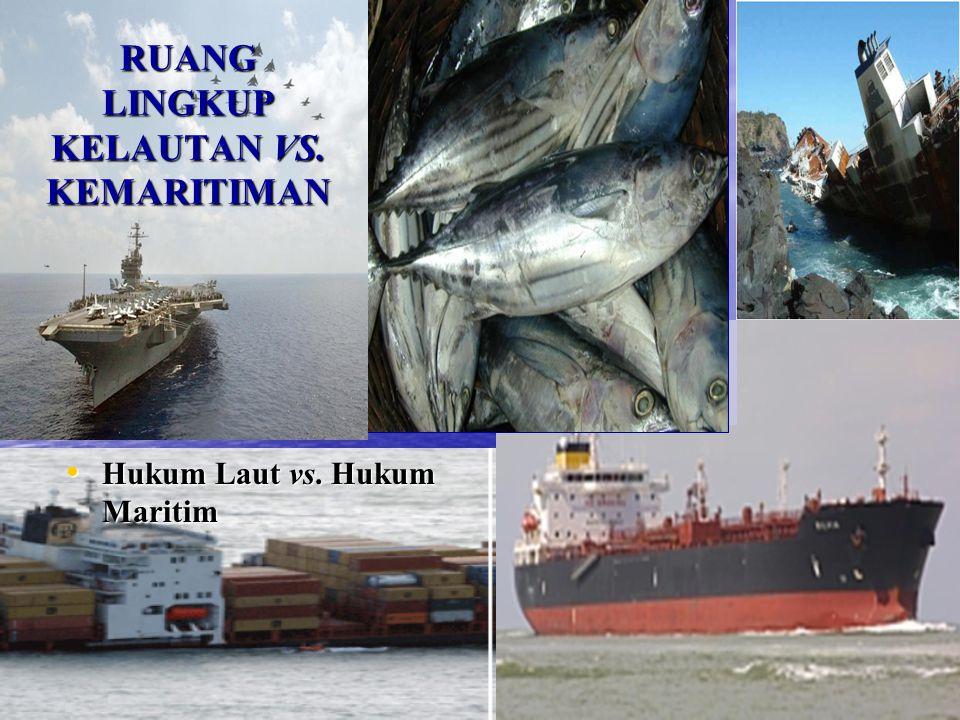 RUANG LINGKUP KELAUTAN VS. KEMARITIMAN Hukum Laut vs. Hukum Maritim Hukum Laut vs. Hukum Maritim