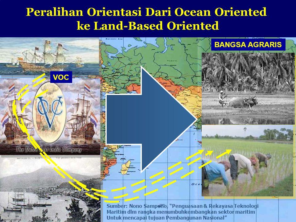 12 Peralihan Orientasi Dari Ocean Oriented ke Land-Based Oriented BANGSA AGRARIS VOC Sumber: Nono Sampono, Penguasaan & Rekayasa Teknologi Maritim dlm rangka menumbuhkembangkan sektor maritim Untuk mencapai tujuan Pembangunan Nasional