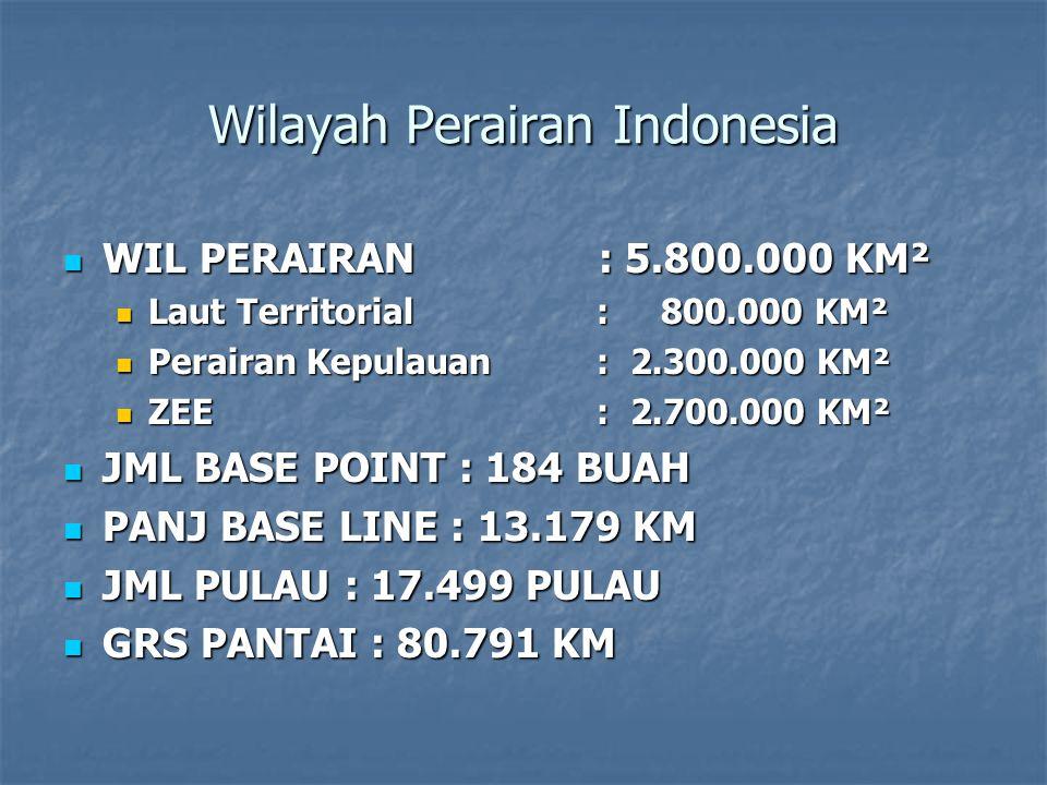 Wilayah Perairan Indonesia WIL PERAIRAN : 5.800.000 KM² WIL PERAIRAN : 5.800.000 KM² Laut Territorial : 800.000 KM² Laut Territorial : 800.000 KM² Perairan Kepulauan : 2.300.000 KM² Perairan Kepulauan : 2.300.000 KM² ZEE : 2.700.000 KM² ZEE : 2.700.000 KM² JML BASE POINT : 184 BUAH JML BASE POINT : 184 BUAH PANJ BASE LINE : 13.179 KM PANJ BASE LINE : 13.179 KM JML PULAU : 17.499 PULAU JML PULAU : 17.499 PULAU GRS PANTAI : 80.791 KM GRS PANTAI : 80.791 KM