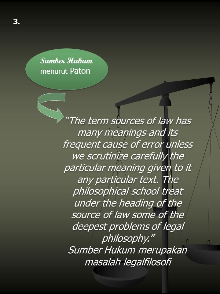 """Sumber Hukum menurut Paton 3. """"The term sources of law has many meanings and its frequent cause of error unless we scrutinize carefully the particular"""