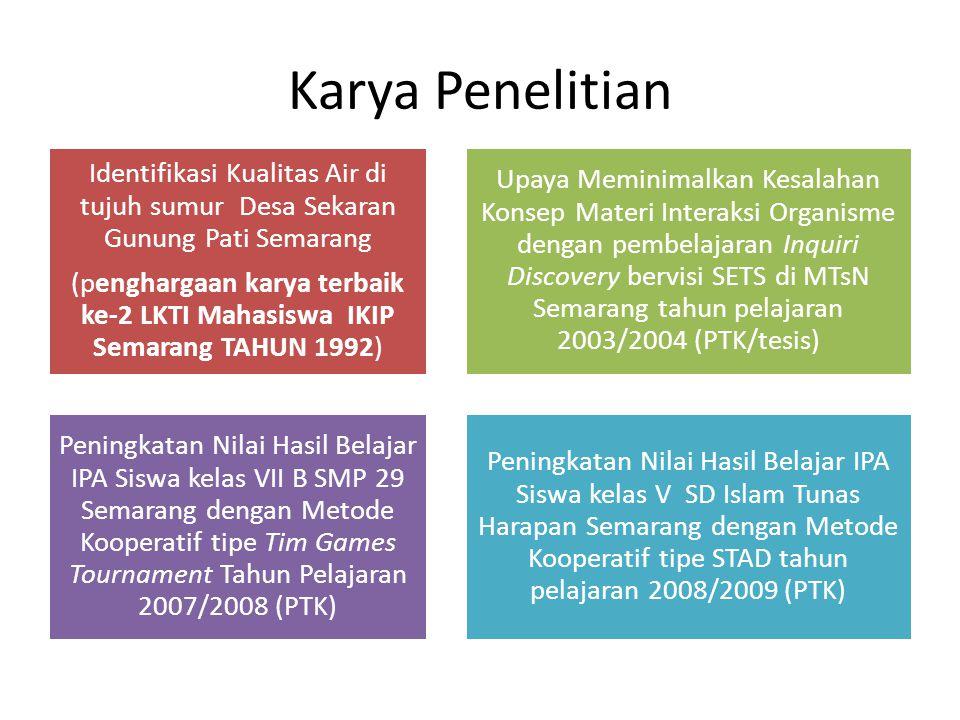 Karya Penelitian Identifikasi Kualitas Air di tujuh sumur Desa Sekaran Gunung Pati Semarang (penghargaan karya terbaik ke-2 LKTI Mahasiswa IKIP Semara