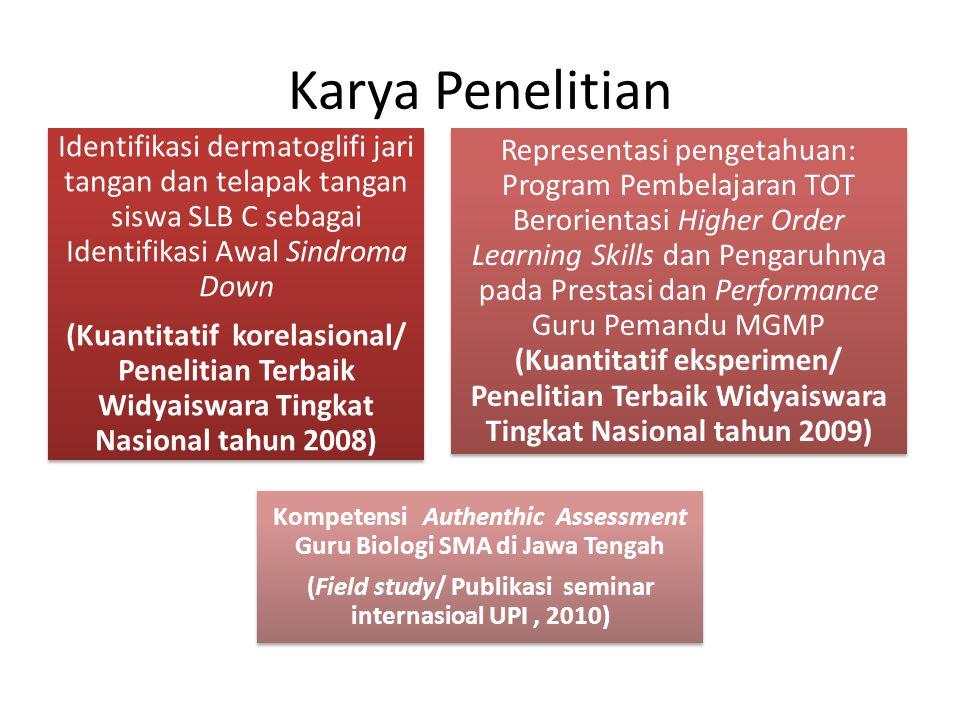SISTEM KOGNITIF PADA LEVEL PEMROSESAN DAN DOMAIN PENGETAHUAN TAKSONOMI MARZANO: IMPLEMENTASI ASESMEN OTENTIK GURU IPA SMP (Publikasi seminar nasional UNILA, 2010) HABITS OF MIND: PROGRAM MGMP BERORIENTASI DEDUKSI DAN INDUKSI SERTA HUBUNGANNYA DENGAN KEMAMPUAN PENALARAN GURU (Publikasi jurnal UPI, 2011) HABITS OF MIND DAN TES PENALARAN LOGIS: KEMAMPUAN BERKALA GURU MELALUI IMPLEMENTASI ASESMEN OTENTIK (Publikasi seminar nasional dan jurnal nasional Puslitjarkov, 2011) Kemampuan Penalaran Logis dan Profil Guru di MGMP IPA (Publikasi jurnal IWI Jateng, 2011) Karya Penelitian