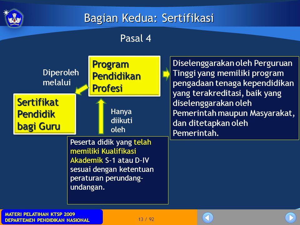 MATERI PELATIHAN KTSP 2009 DEPARTEMEN PENDIDIKAN NASIONAL MATERI PELATIHAN KTSP 2009 DEPARTEMEN PENDIDIKAN NASIONAL 13 / 92 Bagian Kedua: Sertifikasi
