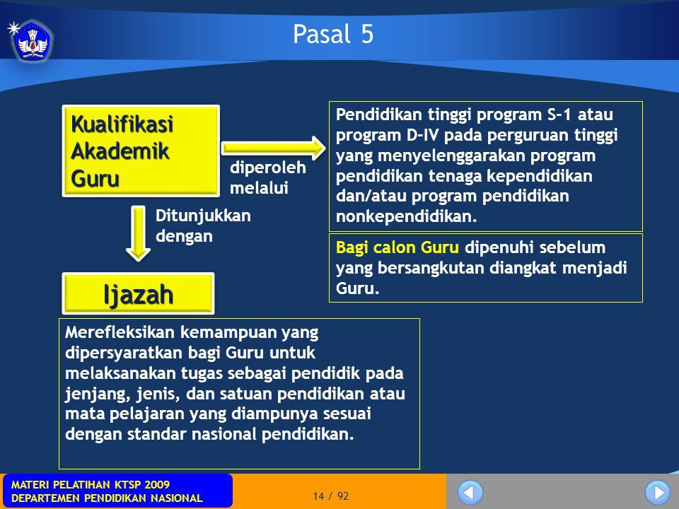 MATERI PELATIHAN KTSP 2009 DEPARTEMEN PENDIDIKAN NASIONAL MATERI PELATIHAN KTSP 2009 DEPARTEMEN PENDIDIKAN NASIONAL 14 / 92 Pasal 5 Bagi calon Guru di