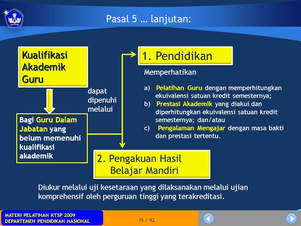MATERI PELATIHAN KTSP 2009 DEPARTEMEN PENDIDIKAN NASIONAL MATERI PELATIHAN KTSP 2009 DEPARTEMEN PENDIDIKAN NASIONAL 15 / 92 Pasal 5 … lanjutan: Kualif