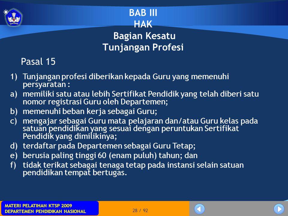 MATERI PELATIHAN KTSP 2009 DEPARTEMEN PENDIDIKAN NASIONAL MATERI PELATIHAN KTSP 2009 DEPARTEMEN PENDIDIKAN NASIONAL 28 / 92 BAB III HAK Bagian Kesatu