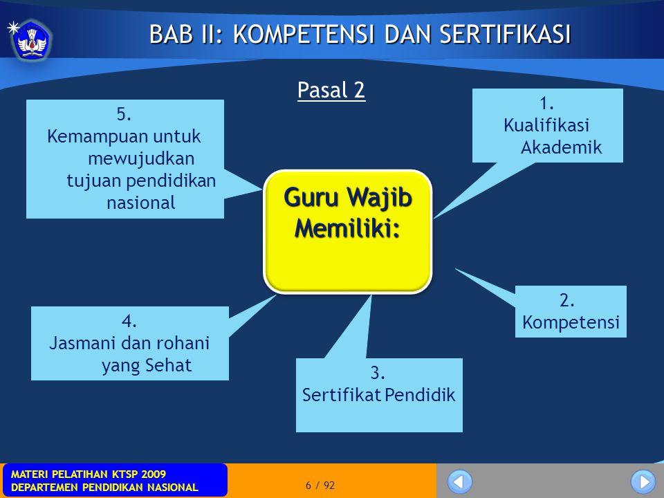 MATERI PELATIHAN KTSP 2009 DEPARTEMEN PENDIDIKAN NASIONAL MATERI PELATIHAN KTSP 2009 DEPARTEMEN PENDIDIKAN NASIONAL 7 / 92 Bagian I: Kompetensi Pasal 3 KOMPETENSIGURUKOMPETENSIGURU Pengertian: Merupakan seperangkat pengetahuan, keterampilan, dan perilaku yang harus dimiliki, dihayati, dikuasai, dan diaktualisasikan oleh Guru dalam melaksanakan tugas keprofesionalan Pengertian: Merupakan seperangkat pengetahuan, keterampilan, dan perilaku yang harus dimiliki, dihayati, dikuasai, dan diaktualisasikan oleh Guru dalam melaksanakan tugas keprofesionalan Jenis: 1.kompetensi pedagogik 2.Kompetensi kepribadian 3.kompetensi sosial 4.kompetensi profesional Jenis: 1.kompetensi pedagogik 2.Kompetensi kepribadian 3.kompetensi sosial 4.kompetensi profesional Bersifat holistik.