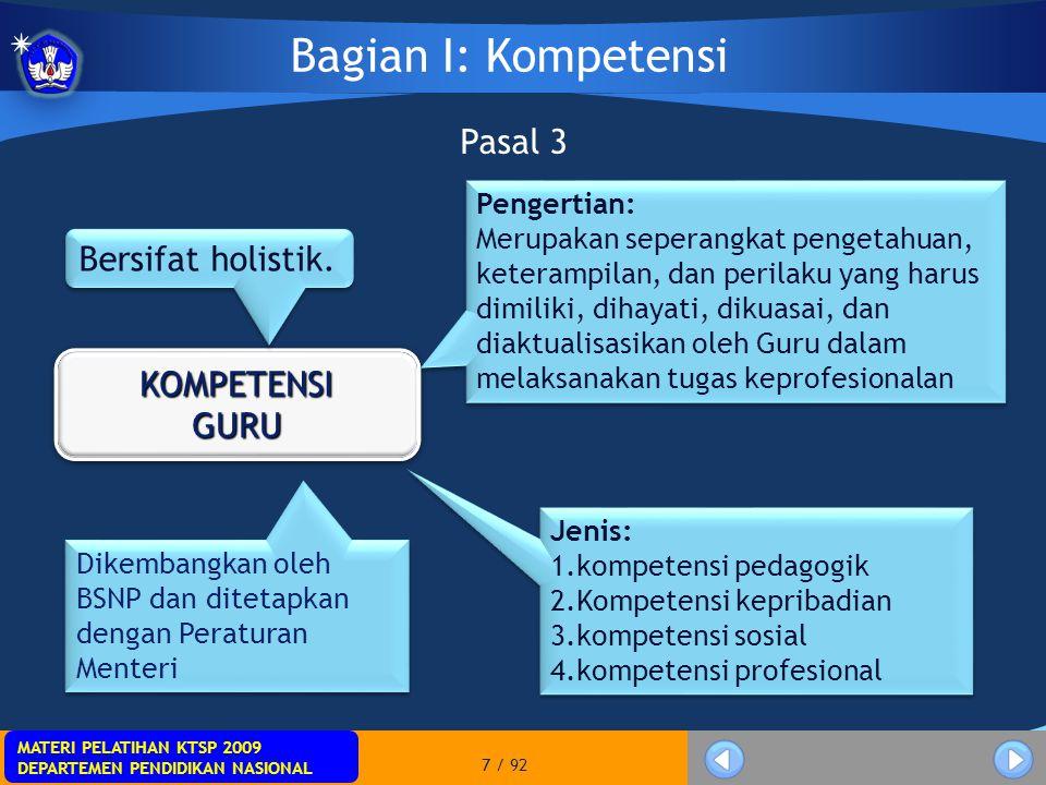 MATERI PELATIHAN KTSP 2009 DEPARTEMEN PENDIDIKAN NASIONAL MATERI PELATIHAN KTSP 2009 DEPARTEMEN PENDIDIKAN NASIONAL 18 / 92 Pasal 7 1)Muatan belajar pendidikan profesi meliputi kompetensi pedagogik, kompetensi kepribadian, kompetensi sosial, dan kompetensi profesional.