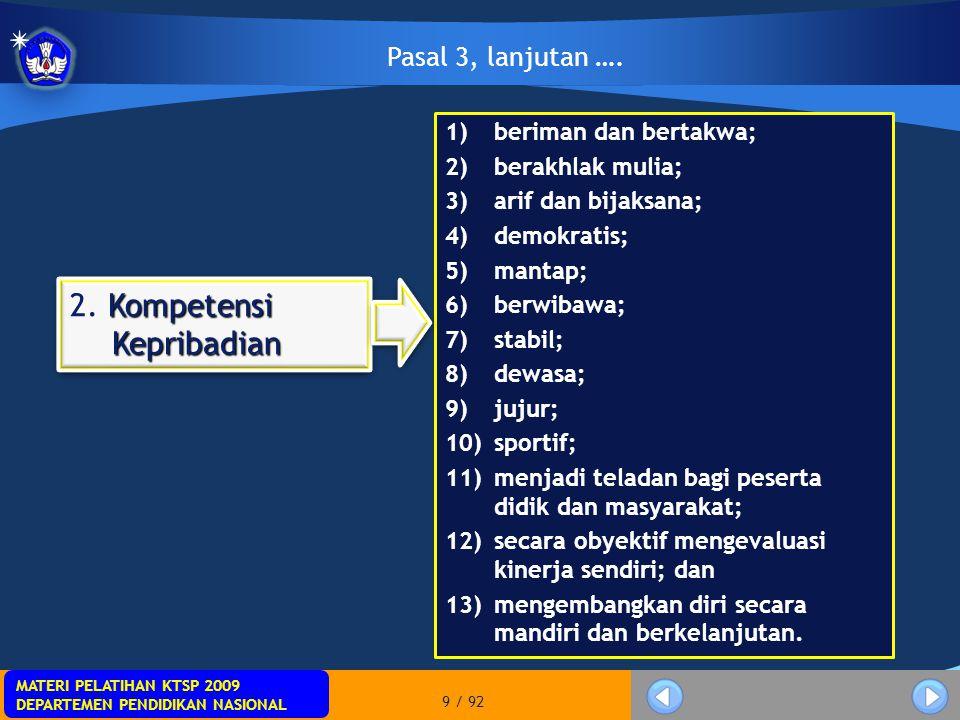 MATERI PELATIHAN KTSP 2009 DEPARTEMEN PENDIDIKAN NASIONAL MATERI PELATIHAN KTSP 2009 DEPARTEMEN PENDIDIKAN NASIONAL 70 / 92 Pasal 53 Menteri dapat menetapkan ekuivalensi beban kerja untuk memenuhi ketentuan beban kerja sebagaimana dimaksud dalam Pasal 52 ayat (2) dan ayat (3) bagi Guru yang:  bertugas pada satuan pendidikan layanan khusus;  berkeahlian khusus; dan/atau  dibutuhkan atas dasar pertimbangan kepentingan nasional.