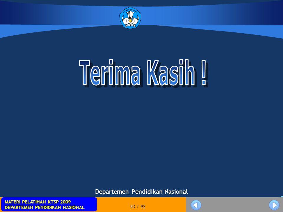 MATERI PELATIHAN KTSP 2009 DEPARTEMEN PENDIDIKAN NASIONAL 93 / 92 Departemen Pendidikan Nasional