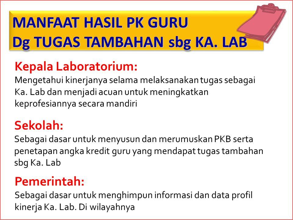 MANFAAT HASIL PK GURU Dg TUGAS TAMBAHAN sbg KA. LAB MANFAAT HASIL PK GURU Dg TUGAS TAMBAHAN sbg KA. LAB Kepala Laboratorium: Mengetahui kinerjanya sel