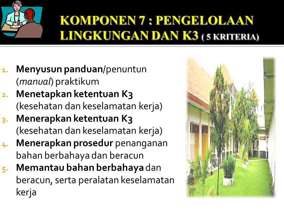 1. Menyusun panduan/penuntun (manual) praktikum 2. Menetapkan ketentuan K3 (kesehatan dan keselamatan kerja) 3. Menerapkan ketentuan K3 (kesehatan dan